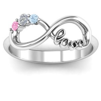 Customised Infinity Promise Ring With Birthstone Infinity Love Ring  - Handcrafted & Custom-Made