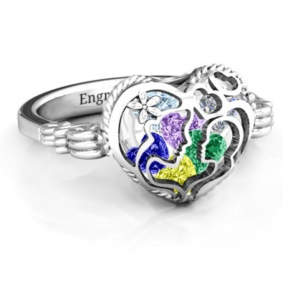 Mother and Child Caged Hearts Ring with Butterfly Wings Band - Handcrafted & Custom-Made
