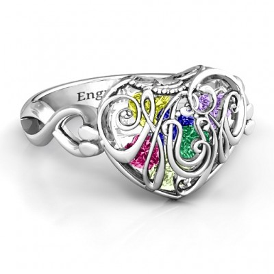 Mum heart Caged Hearts Ring with Infinity Band - Handcrafted & Custom-Made