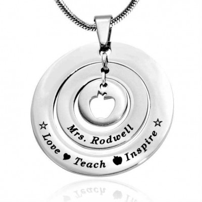 Personalised Circles of Love Necklace Teacher - Sterling Silver - Handcrafted & Custom-Made