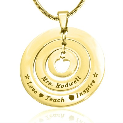 Personalised Circles of Love Necklace Teacher - 18ct GOLD Plated - Handcrafted & Custom-Made