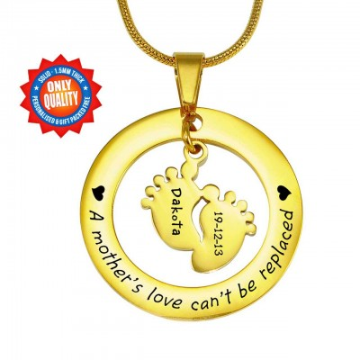 Personalised Cant Be Replaced Necklace - Single Feet 18mm - 18ct Gold Plated - Handcrafted & Custom-Made