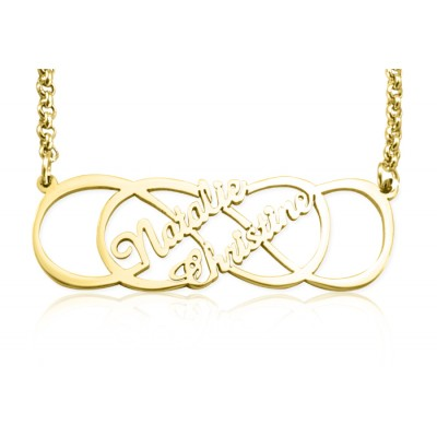Personalised Infinity X Infinity Name Necklace - 18ct Gold Plated - Handcrafted & Custom-Made