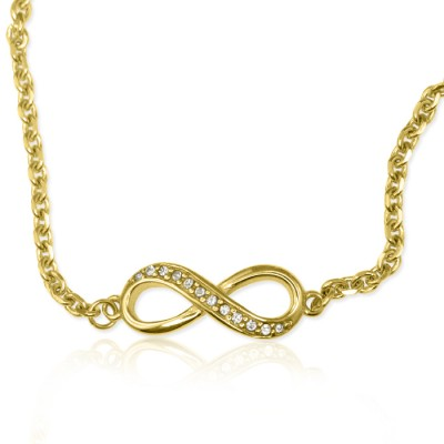 Personalised  Crystal Infinity Bracelet/Anklet - 18ct Gold Plated - Handcrafted & Custom-Made