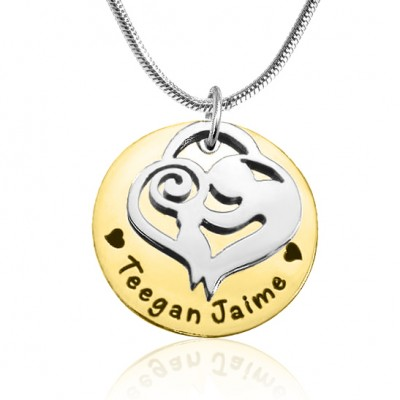 Personalised Mother's Disc Single Necklace - Two Tone - Gold  Silver - Handcrafted & Custom-Made