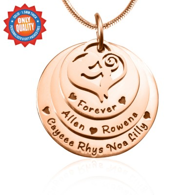 Personalised Mother's Disc Triple Necklace - 18ct Rose Gold Plated - Handcrafted & Custom-Made