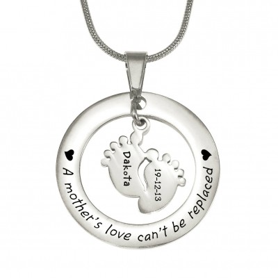 Personalised Cant Be Replaced Necklace - Single Feet 18mm - Sterling Silver - Handcrafted & Custom-Made