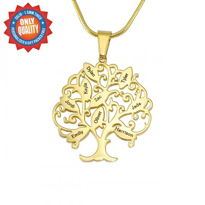 Personalised Tree of My Life Necklace 9 - 18ct Gold Plated - Handcrafted & Custom-Made