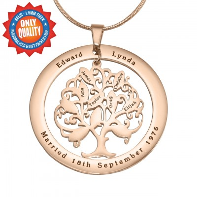 Personalised Tree of My Life Washer 10 - 18ct Rose Gold Plated - Handcrafted & Custom-Made