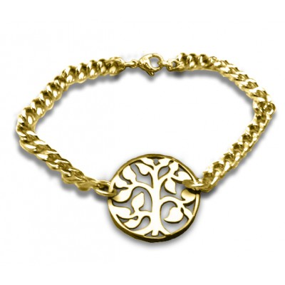 Personalised Tree Bracelet - 18ct Gold Plated - Handcrafted & Custom-Made