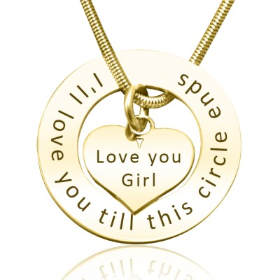 Personalised Circle My Heart Necklace - 18ct Gold Plated - Handcrafted & Custom-Made