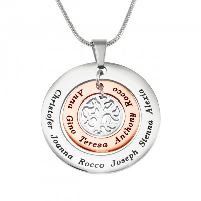 Personalised Circles of Love Necklace Tree - TWO TONE - Rose Gold  Silver - Handcrafted & Custom-Made