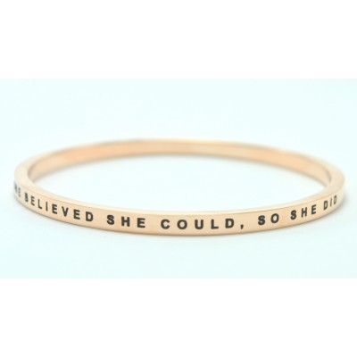Personalised She Believed She Could Bangle 18ct Gold Plated - Handcrafted & Custom-Made