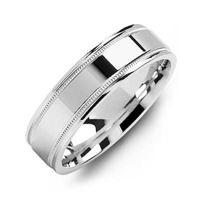 Classic High-Polish Milgrain Men's Ring - Handcrafted & Custom-Made
