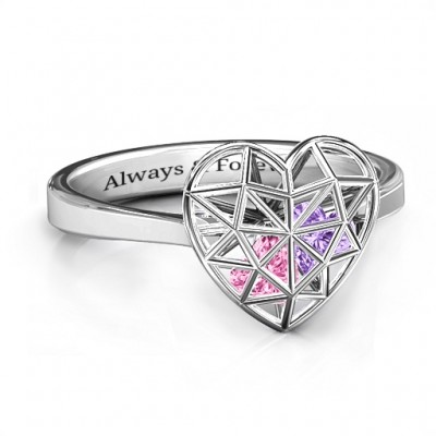 Diamond Heart Cage Ring With Encased Heart Stones  - Handcrafted & Custom-Made