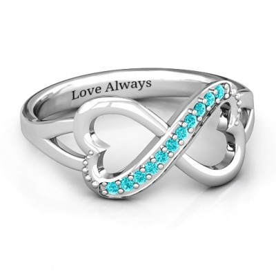 Double Heart Infinity Ring with Accents - Handcrafted & Custom-Made