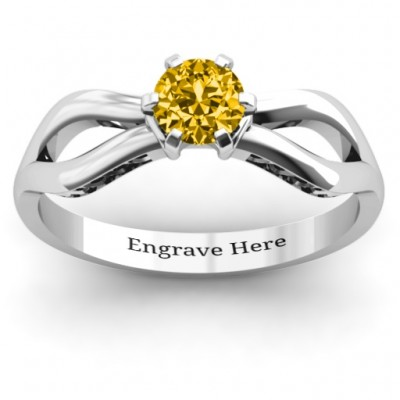 Fancy Split Shank Solitaire Ring - Handcrafted & Custom-Made