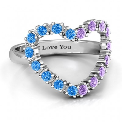 Floating Heart with Stones Ring  - Handcrafted & Custom-Made
