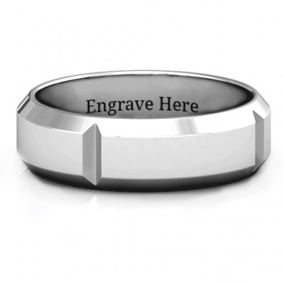 Hercules Quad Bevelled and Grooved Men's Ring - Handcrafted & Custom-Made