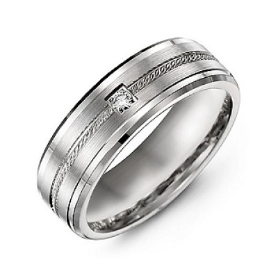 Rope Design Men's Ring with Stone and Beveled Edges  - Handcrafted & Custom-Made