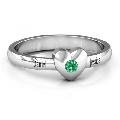 Solid Heart with Single Gemstone Ring  - Handcrafted & Custom-Made