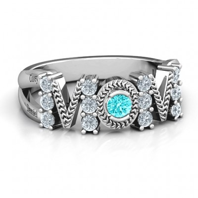 Split Shank Stone Filled MOM Ring  - Handcrafted & Custom-Made
