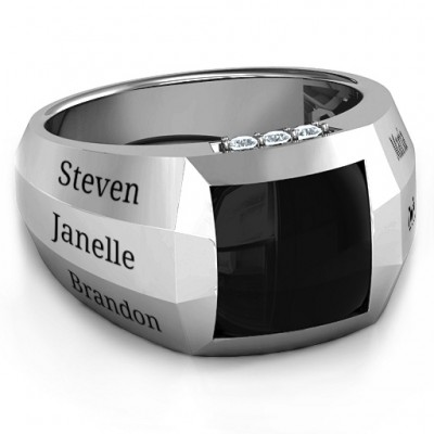 Sterling Silver Engravable Statement 6-Stone Men's Ring  - Handcrafted & Custom-Made