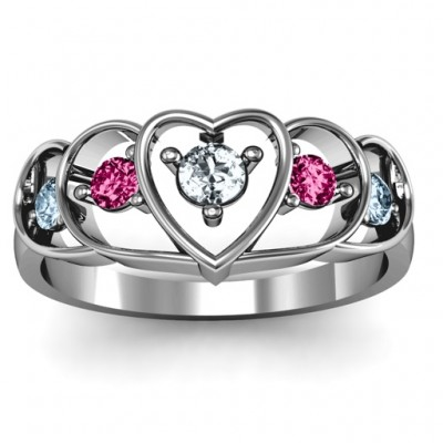 Sterling Silver Heart Collage Ring - Handcrafted & Custom-Made