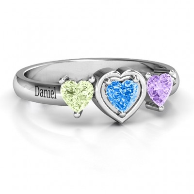 Sterling Silver Heart Stone with Twin Heart Accents Ring  - Handcrafted & Custom-Made