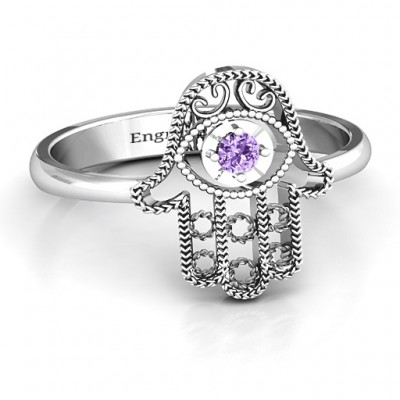 Sterling Silver Protection Hamsa Ring - Handcrafted & Custom-Made