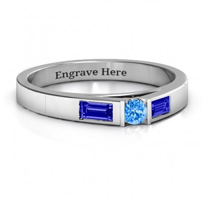 Sterling Silver Solitaire Bridge Ring with Baguette Accents - Handcrafted & Custom-Made