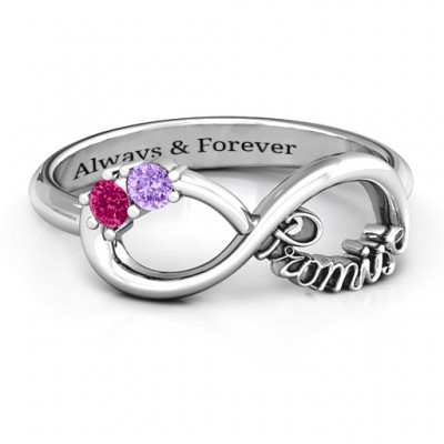 Sterling Silver Two Stone Promise Infinity Ring  - Handcrafted & Custom-Made