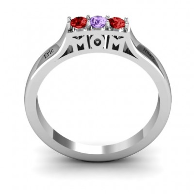 Triple Round Stone MOM Ring  - Handcrafted & Custom-Made