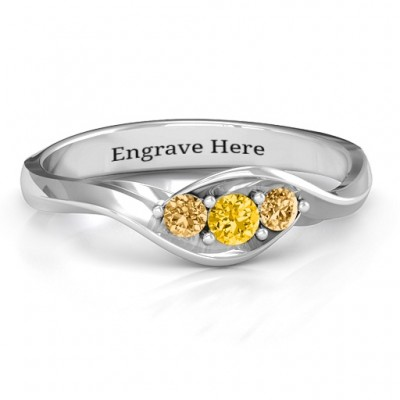 Triple Stone Swirl Ring  - Handcrafted & Custom-Made