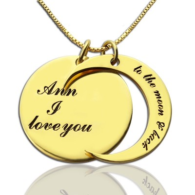 I Love You to The Moon and Back Love Necklace 18ct Gold Plated - Handcrafted & Custom-Made