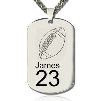 Man's Dog Tag Rugby Name Necklace - Handcrafted & Custom-Made