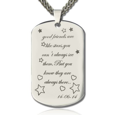 Best Friends Gift Dog Tag Name Necklace - Handcrafted & Custom-Made