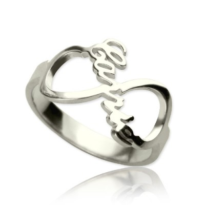 Personalised Infinity Nameplate Ring Sterling Silver - Handcrafted & Custom-Made