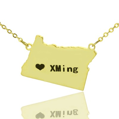 Custom Oregon State USA Map Necklace With Heart  Name Gold Plated - Handcrafted & Custom-Made