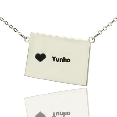 Wyoming State Shaped Map Necklaces With Heart  Name Silver - Handcrafted & Custom-Made