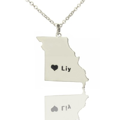Custom Missouri State Shaped Necklaces With Heart  Name Silver - Handcrafted & Custom-Made
