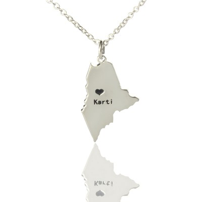 Custom Maine State Shaped Necklaces With Heart  Name Silver - Handcrafted & Custom-Made