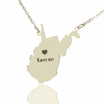 Custom West Virginia State Shaped Necklaces With Heart  Name Silver - Handcrafted & Custom-Made
