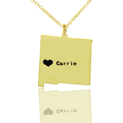 Custom New Mexico State Shaped Necklaces With Heart  Name Gold Plate - Handcrafted & Custom-Made