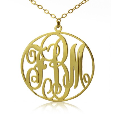 Solid Gold Vine Font Circle Initial Monogram Necklace-18ct - Handcrafted & Custom-Made