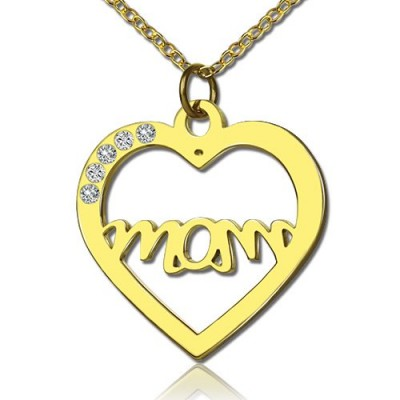 Mothers Heart Necklace With Birthstone 18ct Gold Plated  - Handcrafted & Custom-Made
