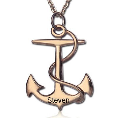Anchor Necklace Charms Engraved Your Name 18ct Rose Gold Plated Silver - Handcrafted & Custom-Made