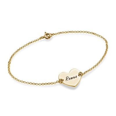 18ct Gold Plated Engraved Couples Heart Bracelet/Anklet - Handcrafted & Custom-Made