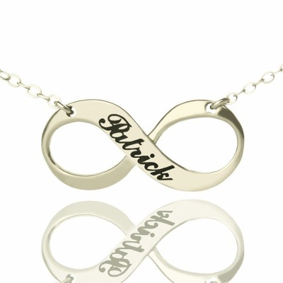 Engraved Name Infinity Necklace Sterling Silver - Handcrafted & Custom-Made