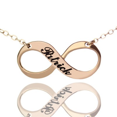 18ct Rose Gold Plated Engraved Infinity Necklace - Handcrafted & Custom-Made